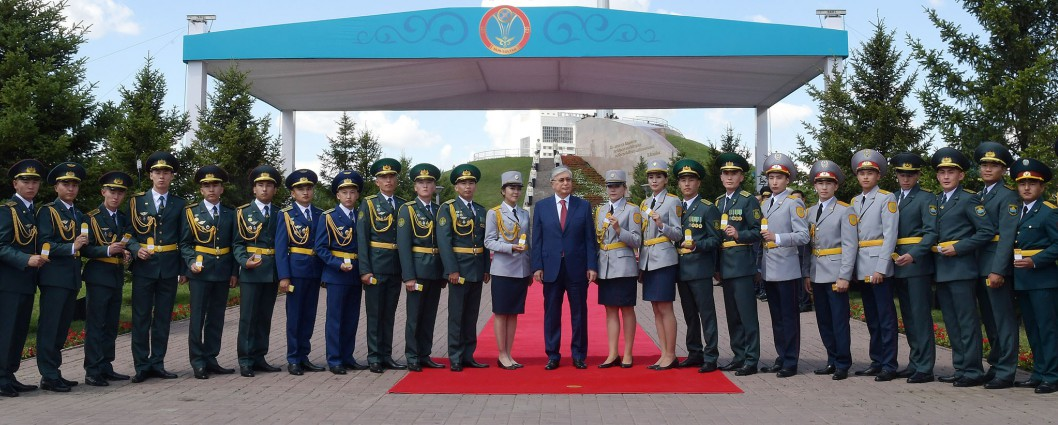 Kassym-Jomart Tokayev takes part in the ceremony of hoisting the National Flag